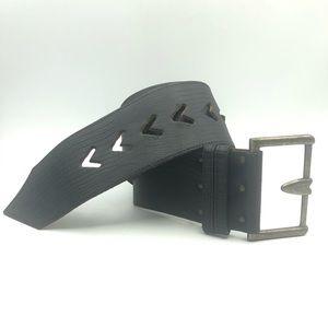 Accessories - Leather Belt Black Limited Express Wide Belt